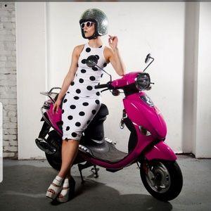 Motel rocks XS white with black polka dots dress